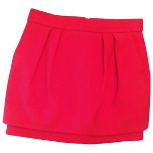 Maje Red Pleated Mini Skirt with Pockets